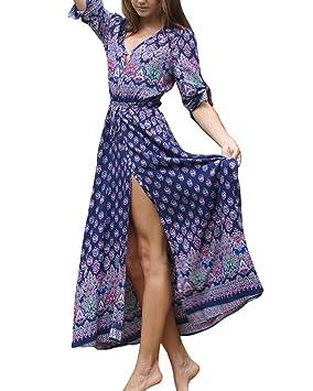 Vestidos de Mujer Verano Cuello en V Boho Largo Maxi Vestido Fiesta Nocturna Playa Vestir Floral