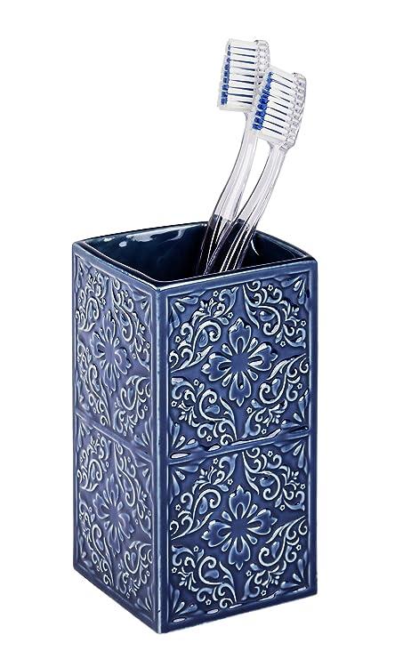 Wenko Cordoba Vaso para Cepillos de Dientes, Cerámica, Azul, 6.5x6.5x12