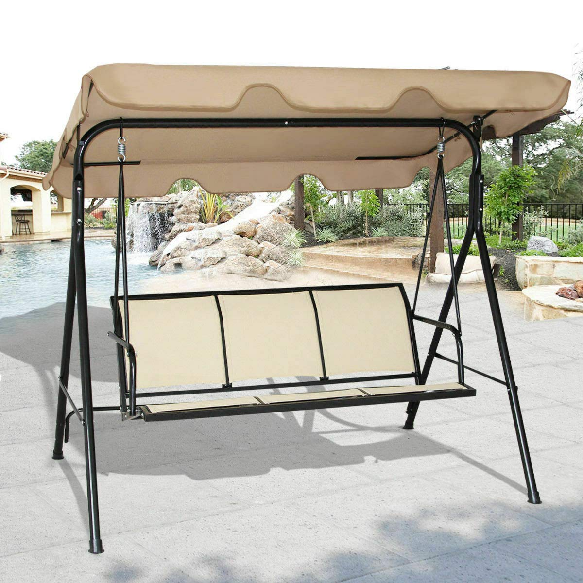 Canopy Swing Chair Patio Hammock Outdoor Awning Yard Furniture Steel 3 Persons