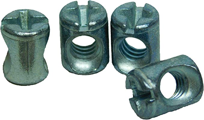 Cross Dowel Barrel Nuts Two Holes M6 x 60 Zinc Pack of 20