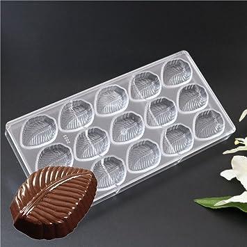 15 cavidades forma de hoja PC policarbonato Chocolate Mold Fondant Candy Sweet Ice Cube bandeja molde
