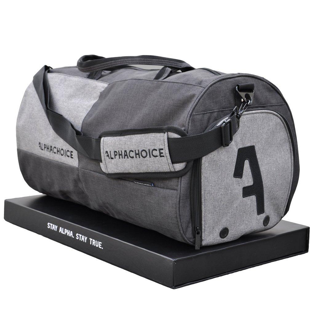 Alphachoice Sporttasche 43L - Fitnesstasche - Reisetasche groß mit Schuhfach für Damen & Herren, grau mit vielen Fächern, 55cm x 28cm x 28cm grau mit vielen Fächern