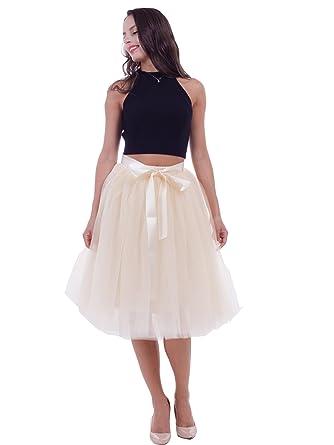 602b1d6b37 SCFL Women's Tutu Midi Tulle Skirts 7 Layers Petticoat Underskirt Ballet  with Elastic Belt for Wedding