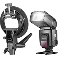 Neewer TT560 Flash Speedlite with S-Type Bracket Holder of Bowens Mount for Canon Nikon Panasonic Olympus Pentax and DSLR Cameras with Standard Hot Shoe, Softbox Beauty Dish Reflector Umbrella