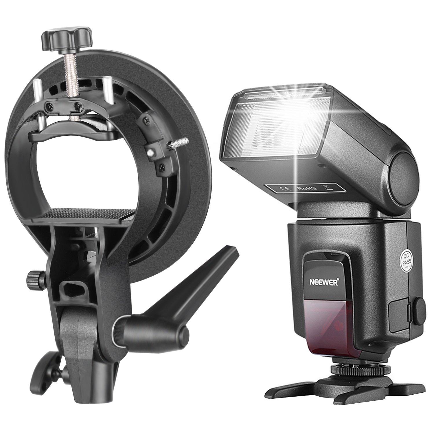 Neewer TT560 Flash Speedlite with S-Type Bracket Holder of Bowens Mount for Canon Nikon Panasonic Olympus Pentax and DSLR Cameras with Standard Hot Shoe, Softbox Beauty Dish Reflector Umbrella by Neewer