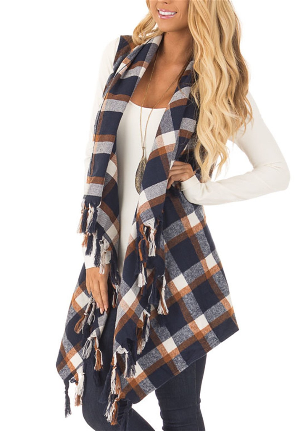 Yobecho Women's Cardigan Vests Plaid High Low Sleeveless Open Front Draped Blouses Cardigan (M, Navy and Coffee)