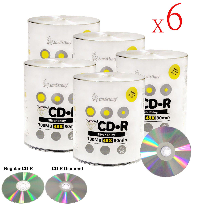 Smart Buy CD-R 3000 Pack 700mb 48x Diamond Shiny Silver Blank Recordable Media Discs, 3000 Disc, 3000pk