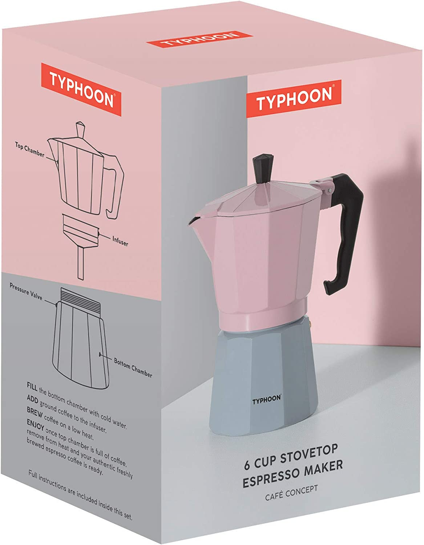 Cafetera de expreso color rosa y gris Typhoon Cafe Concept 1401.795 6 tazas