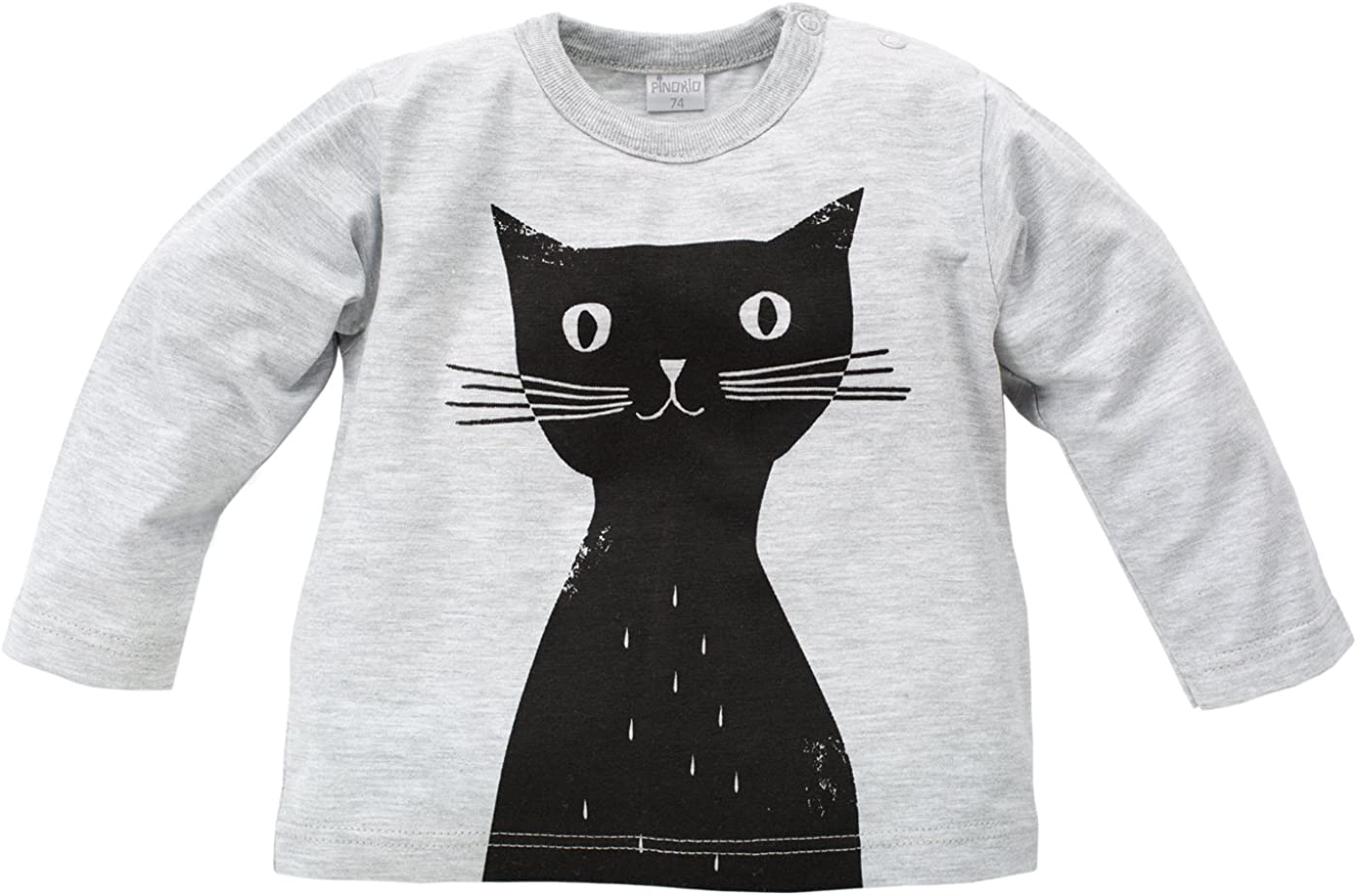 Baby M/ädchen Langarmshirt 100/% Baumwolle Pinokio Shirt langarm Happy Day Schwarz Grau mit Katze