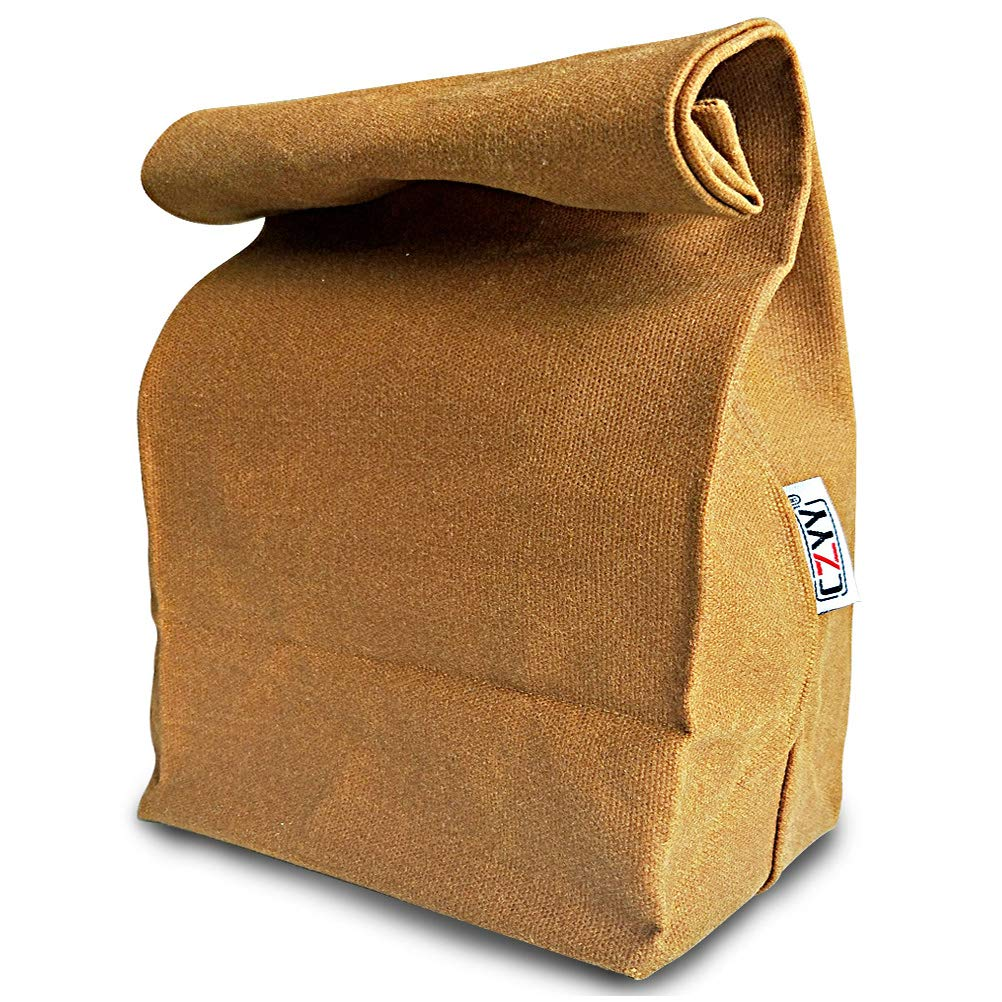 Waxed Canvas Lunch Bags Brown Paper Bag Styled - Classic Updated - Reusable and Washable, Worthbuy Lunch Box for Men & Women