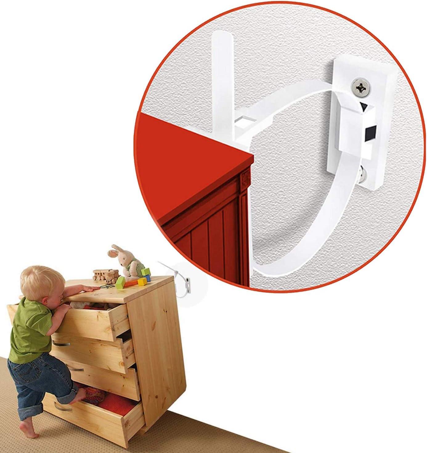 evita que los beb/és se lastimen por la ca/ída de muebles ViViKaya Seguridad Bebe Kit Anclar Muebles Kit de seguridad para beb/és 12 Pack