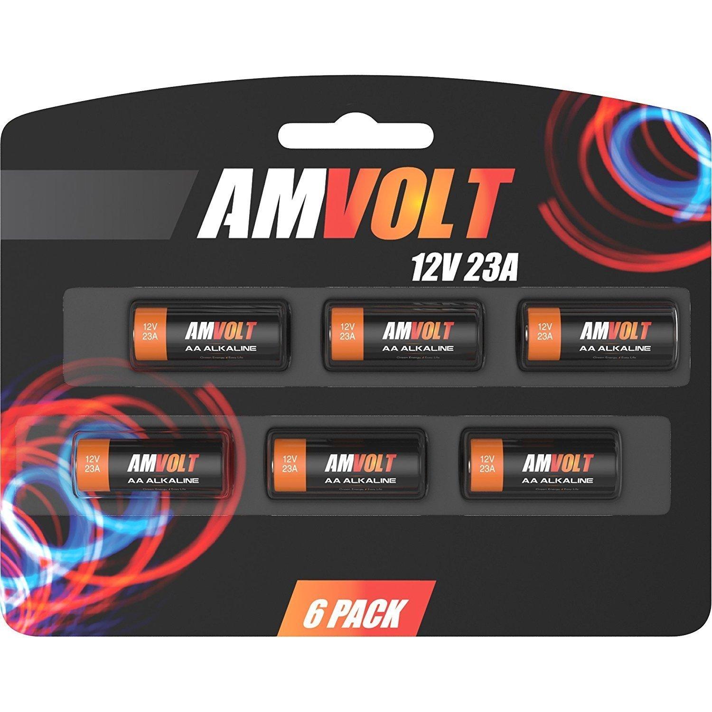 6 Pack of A23 Battery 12V [Ultra Power] Alkaline 12 Volt Batteries for Garage Doors Opener - Keyless Entry - Doorbells and Alarm Car Remote - MN21 GP23AE Best Industrial Battery AMVOLT 4330198152