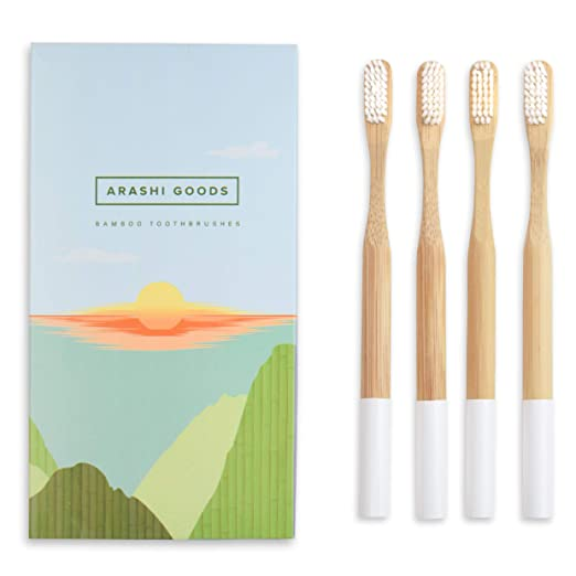 Natural Plant-Based Bamboo Toothbrush by Arashi Goods - Soft Bristles for Sensitive Teeth - Eco Friendly: BPA-Free, Recyclable & Biodegradable - Wooden Toothbrushes - White (Pack of 4 for Adult)