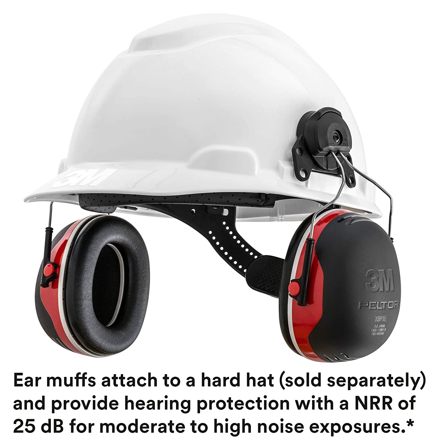 Hearing Protection Cap Mount Ear Muffs Hard Hat Noice Reduction One Size Black