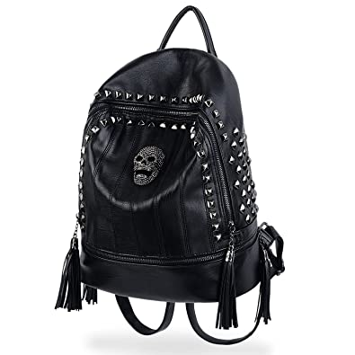 Amazon.com  UTO Skull Fashion Backpack PU Leather Rucksack Rivet ... a1914d4fe7644