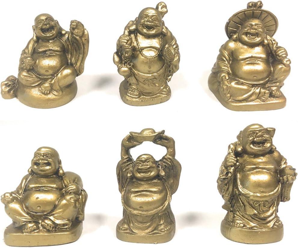 Amlong Crystal Laughing Buddha Figurine 2 inch Statue, 6 Piece Set, Gold