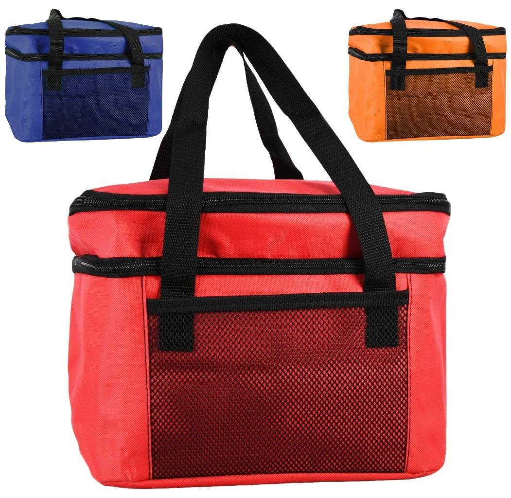 GEEZY 14L Insulated Cool Bag Lunch Box Two Compartments Cooler Picnic Drink Carrier