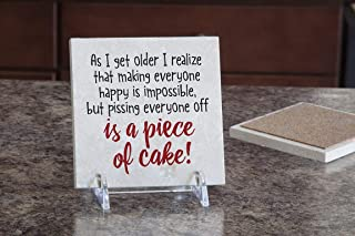 product image for Imagine Design Relatively Funny As I Get Older I Realize, Travertine Coaster, Red/Black/White