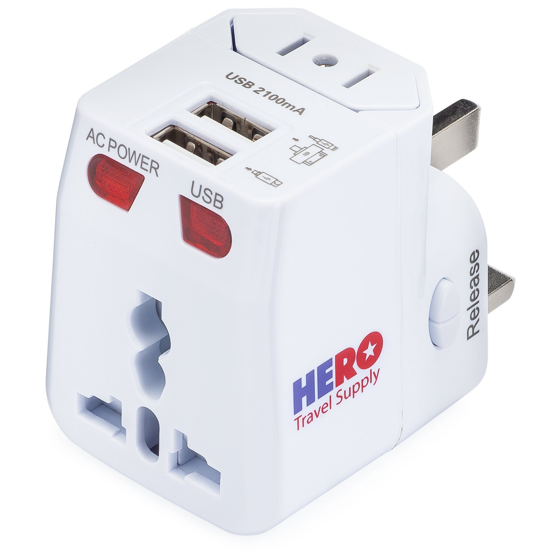 International Power Adapter Plug (2 USB Ports) - US Europe France UK Ireland Thailand China NZ Australia 100+ Countries - Individually Tested in the USA by Hero Travel Supply - White