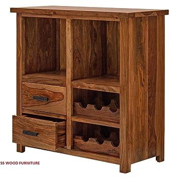 SS WOOD Furniture Sheesham Wood Stylish Bar Cabinet for Living Room | Wine Storage| Brown Finish