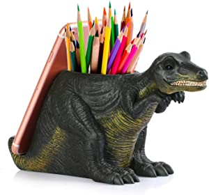 Pen Pencil Holder with Phone Stand, Coolbros Resin Shaped Pen Container Cell Phone Stand Carving Brush Scissor Holder Desk Organizer Decoration for Office Desk Home Decorative (Dinosaur)