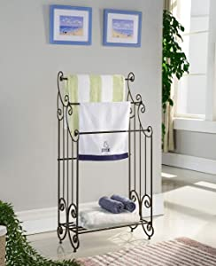 Kings Brand Furniture Metal Free Towel Rack Stand with Shelf, Pewter
