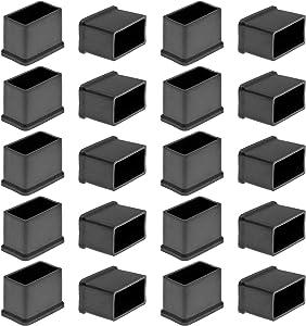 Bonsicoky 20Pcs Rectangle Rubber Furniture Leg Caps Black Vinyl Flexible Chair Leg Floor Protectors for Patio/Indoor Furniture Leg (1.14