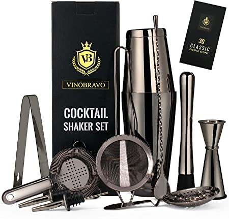 Black Muddler and Home Bar Accessories - Stainless Steel Cocktail Shaker Set with Boston Shaker Strainers 11 Pieces Navaris Cocktail Mixing Set
