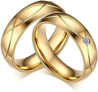 Daesar 1 Paio Anello Nuziale 5Mm Anello in Acciaio inossidabile Placcato Oro per Donna e Uomo Anello in Oro inciso Parteringe2stk-998