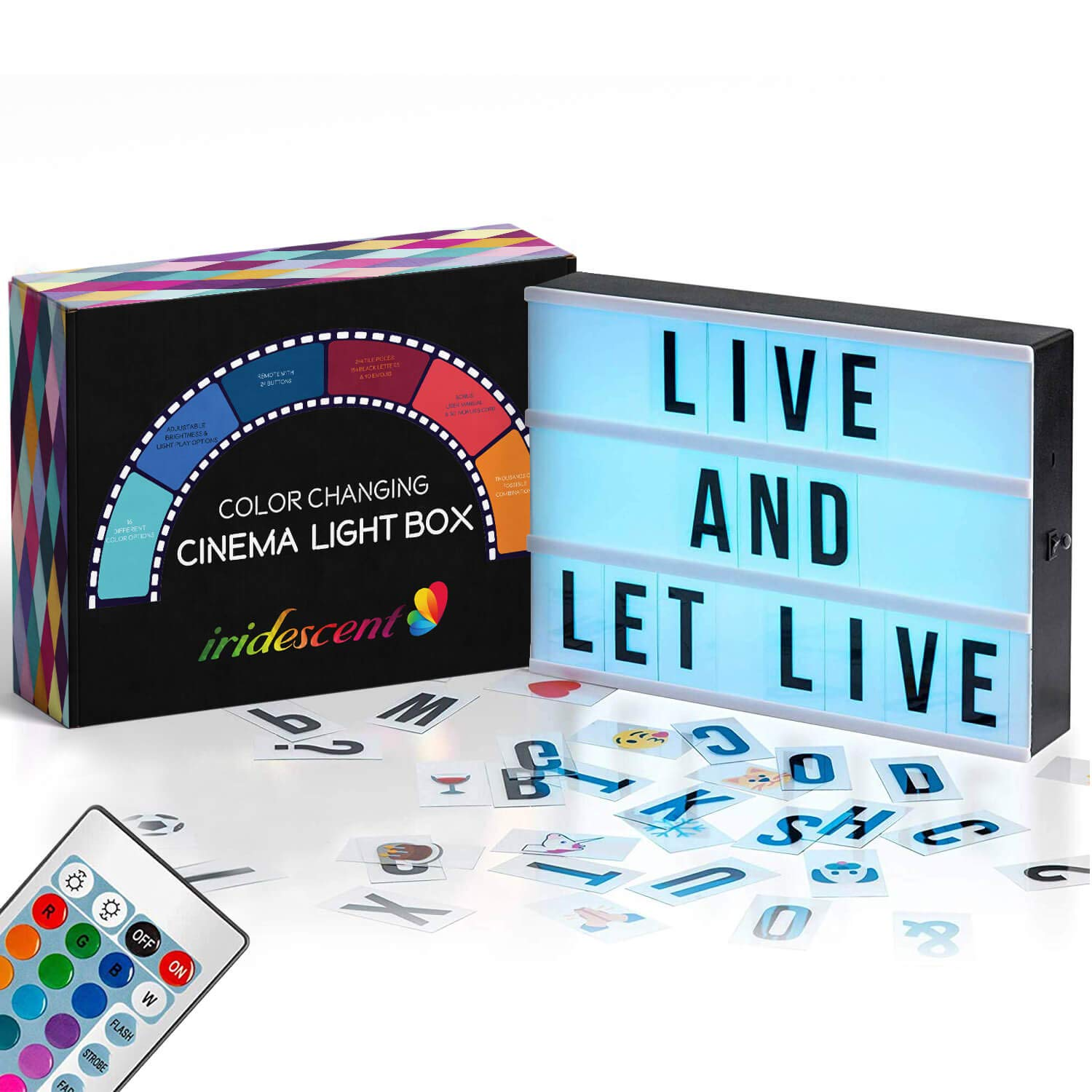 Color Changing Cinema Light Box with Letters - 244 Total Letters, Numbers & Emojis | 16 Colors Remote-controlled PREMIUM Cinematic Marquee Sign Light Box | NEW for 2019! LED Light Up Letter Box Sign by Iridescent