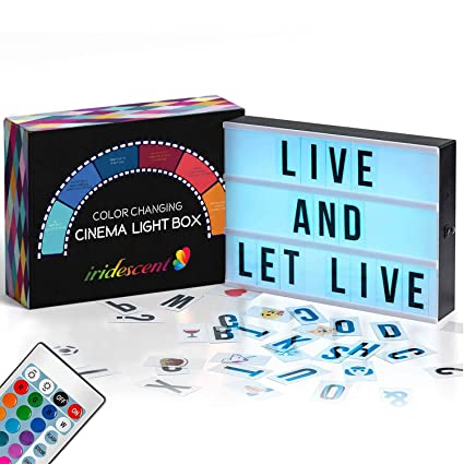 Color Changing Cinema Light Box with Letters - 244 Total Letters, Numbers &  Emojis | 16 Colors Remote-controlled PREMIUM Cinematic Marquee Sign Light