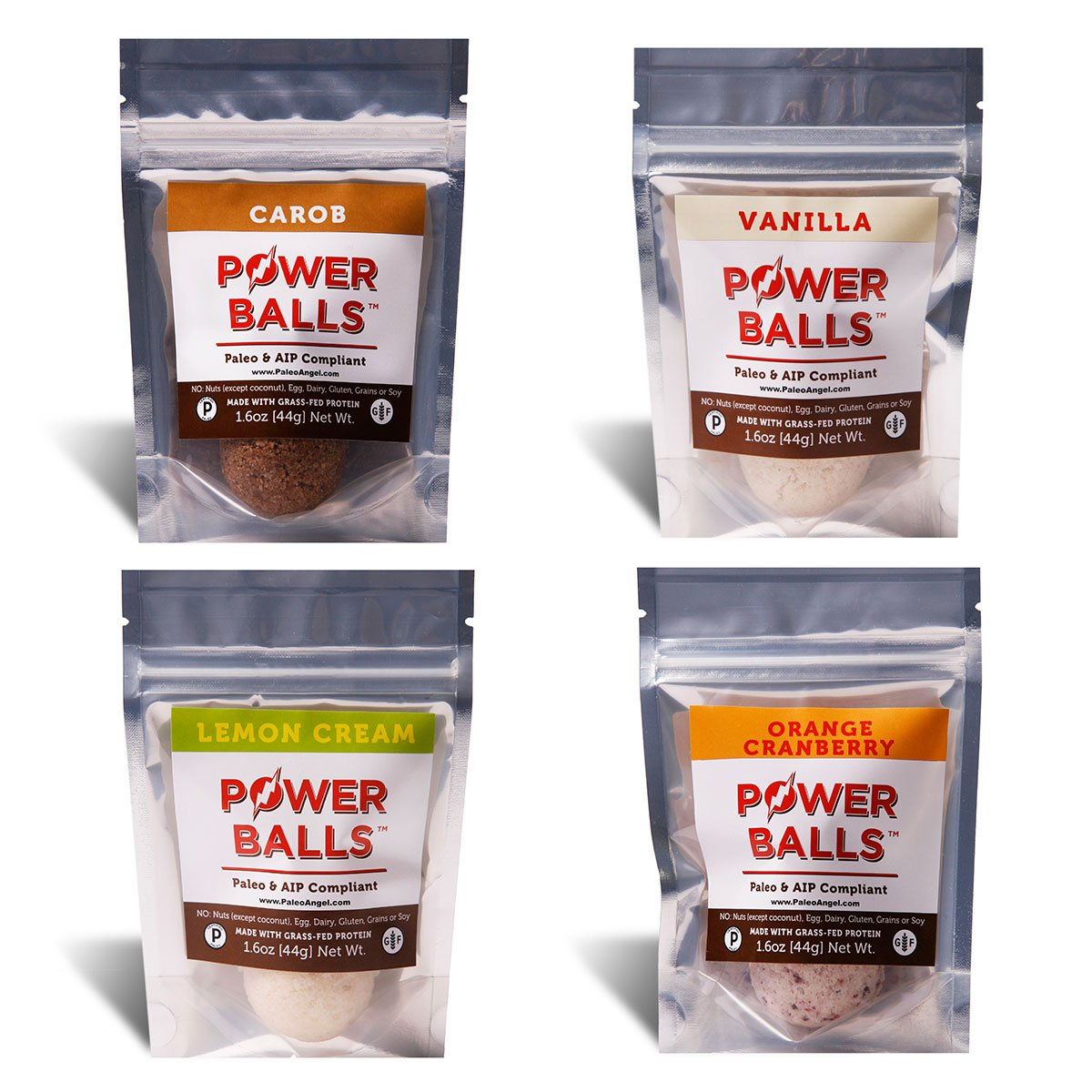 Paleo Angel Power Balls Healthy Paleo Approved Gluten Free AIP Protein Snack Bars (AIP Variety 4-Pack)