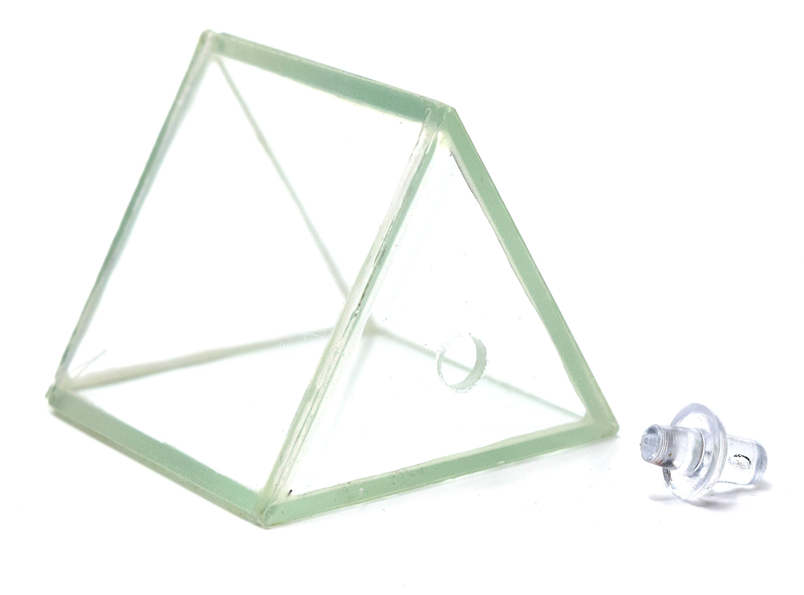 Hollow Glass Prism, with Stopper, Size 2'' x 2'' (50x50 mm) - Great for Studying Snells Law of Refraction - Eisco Labs