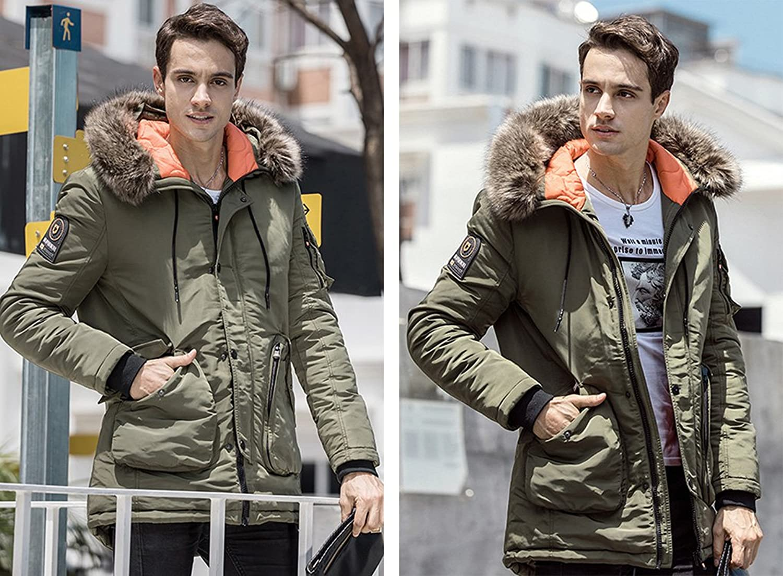 Men's Jacket Detachable Fur Collar Jacket Winter: Amazon.ca: Clothing &  Accessories