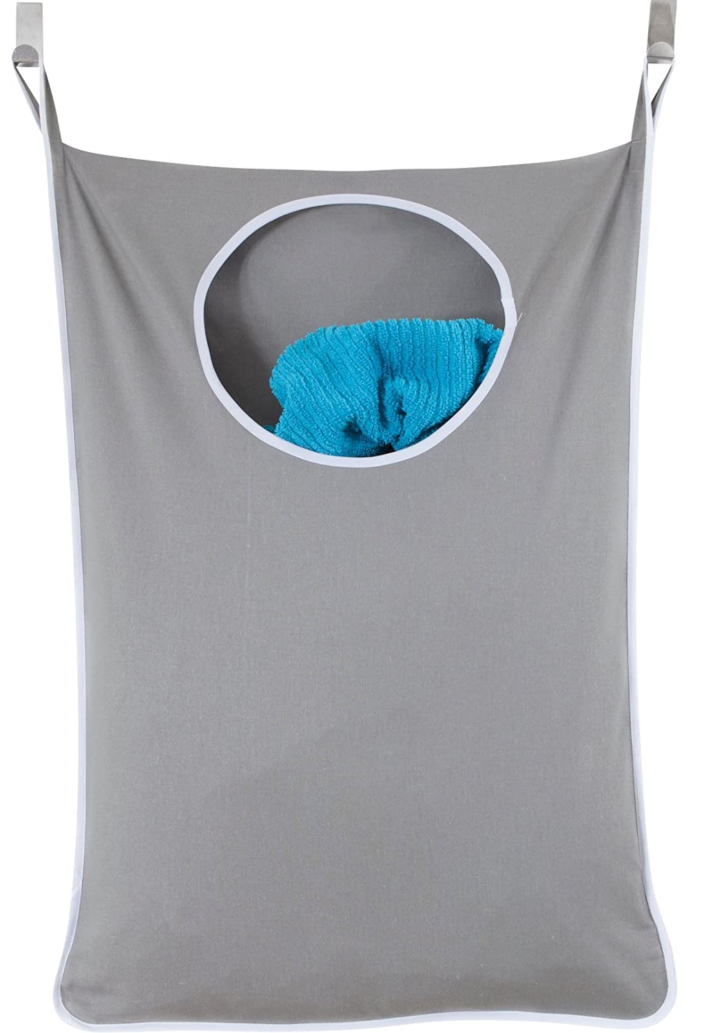 Laundry Nook, Door-Hanging Laundry Hamper with Stainless Steel Hooks, Gray, Large Size