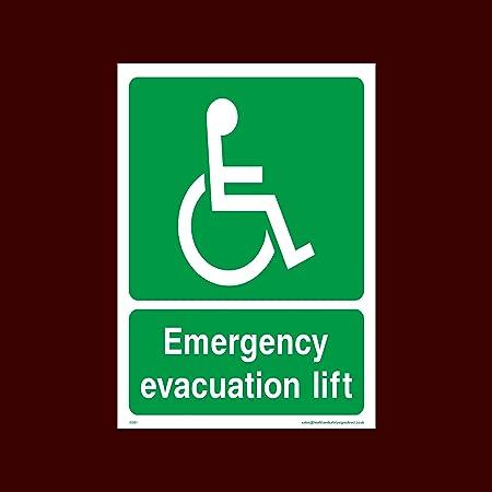 USSP&S Evacuación de Emergencia Ascensor Cartel de plástico ...