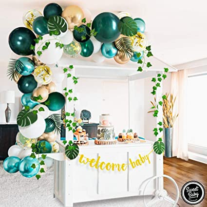 Sweet Baby Co. Jungle Theme Safari Baby Shower Decorations with Green  Balloon Garland Arch Backdrop, Tropical Leaves Decoration, Ivy Vines,  Banner