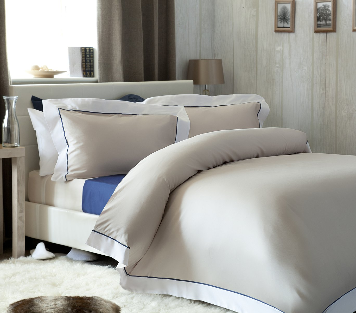 200 Thread Count Egyptian Cotton Bed Linen in Oyster All Sizes
