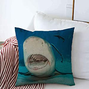 Throw Pillows Covers Cushion Case Nature Blue Adventure Lemon Shark Open Mouth On Remora Sand Atlantic Bahamas Beach Caribbean Design Cotton Linen for Fall Couch Home Decor 16 x 16 Inches