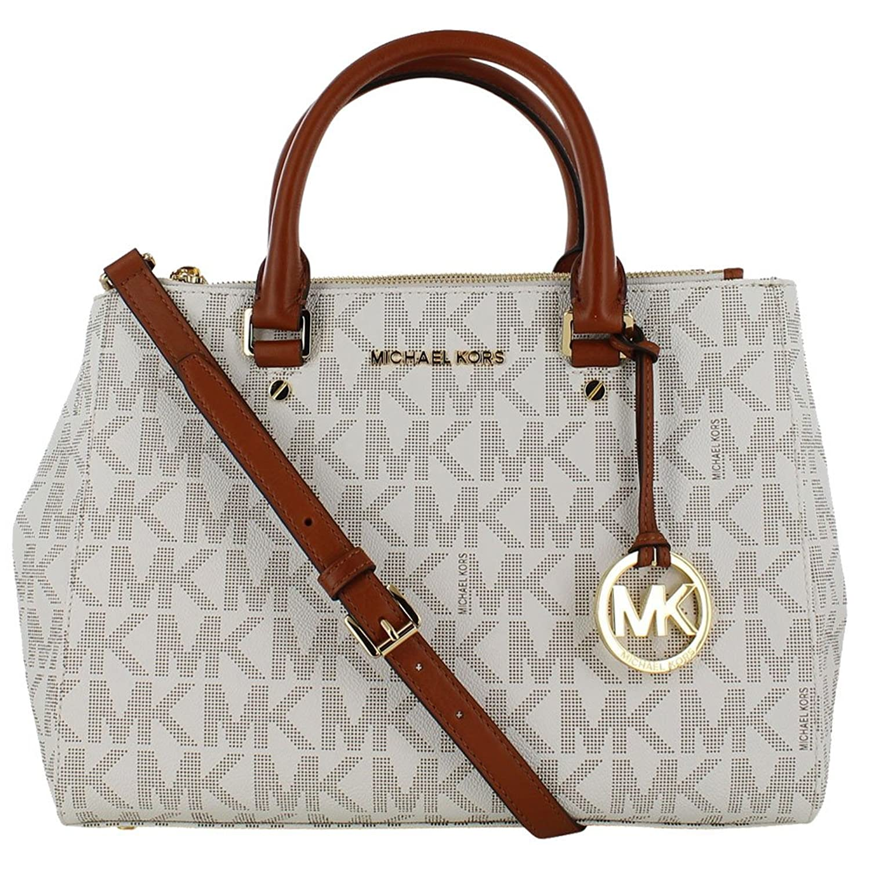Michael Kors Sutton Medium Satchel N S Travel Tote Handbag White Bag Handbags