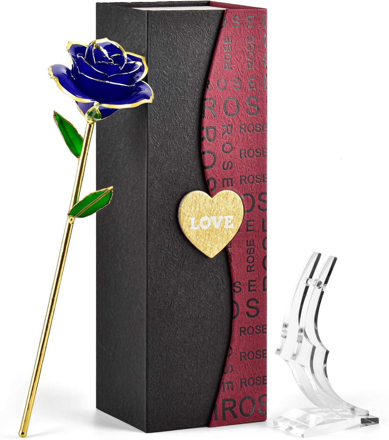 FORGIFTING Rosa Sant Jordi, Resina preservada y Rosas bañadas en Oro - Regalo para Ella en el día de San Valentín, Día de la Madre, Aniversario, Boda, Cumpleaños (Rosa Azul, Soporte Transparente)