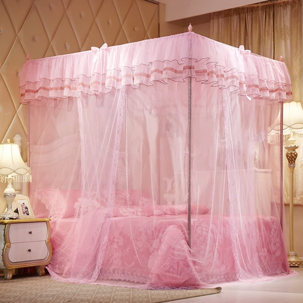 Cute Cozy Drape Square Netting for Twin Bed Uozzi Bedding 4 Corners Post Pink Canopy Bed Curtain for Girls /& Adults Princess Bedroom Decoration 4 Opening 58 W x 80 L Mosquito Net