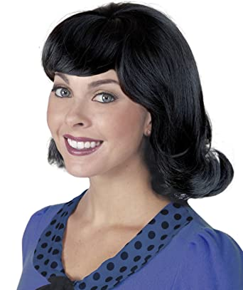 Costume Adventure 60's Black Flip Character Wig - One Size