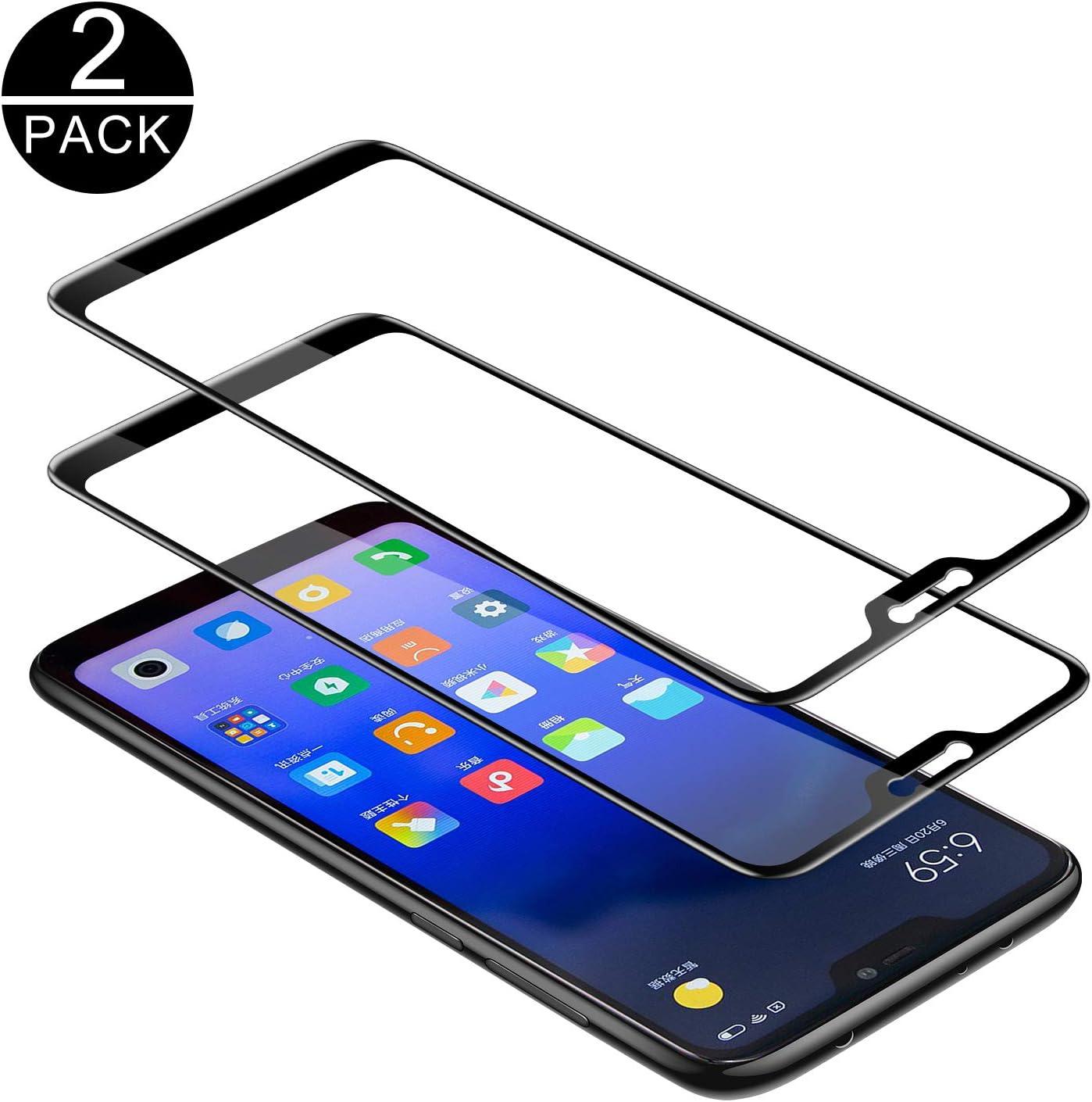 TECHKUN - Protector de pantalla de vidrio templado para Xiaomi Mi A2 Lite, dureza 9H, protector de pantalla ultrafino HD, protector de pantalla completo para Xiaomi Mi A2 Lite, color negro