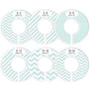 Delicush Baby Closet Dividers, Stripe, Chevron, Set of 6 Size Organizers, Nursery Closet Organizers, Baby Size Dividers, Glossy Finish, Boy, Girl (Mint)