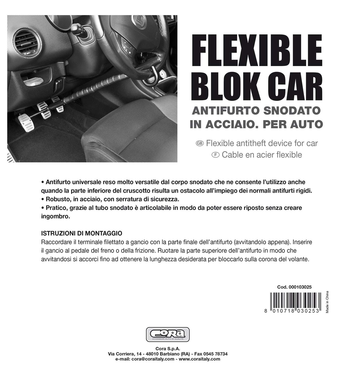 CORA 000103025 Flexible Block Car Antifurto Blocca-Volante//Pedali per Auto