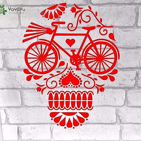 yaoxingfu Vinilo Tatuajes de Pared Cráneos Flora Bicicleta ...