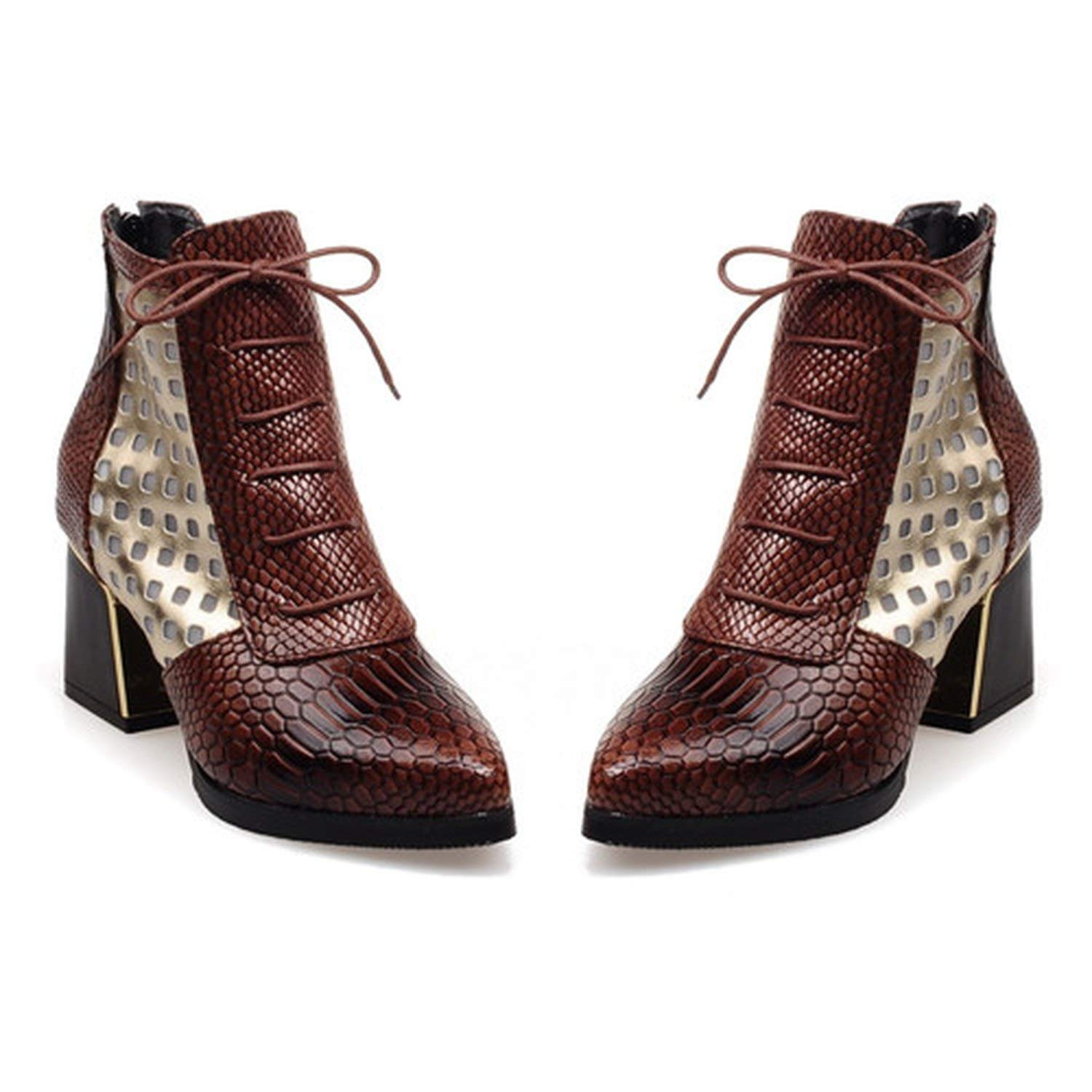 Brown Ankle Boot Snake Print Cross tie Hoof High Heels Short Boots Pointed Toe Autumn Boots