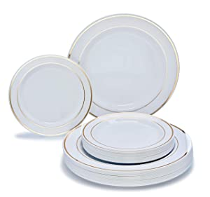 """"""" OCCASIONS"""" 120 Piece Pack Heavyweight Wedding Party Disposable Plastic Plates Set - 60 x 10.5'' Dinner + 60 x 7.5'' Salad/dessert (White w/Gold Rim)"""