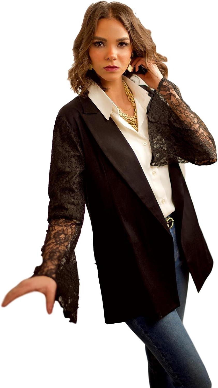 The Gallery Womens Gabardine Short Sleeve Ruffle Jacket Black and Beige